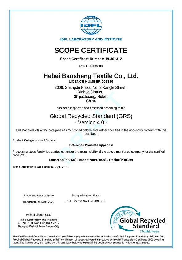 IDFL 19-301312 GRS Certificate Draft
